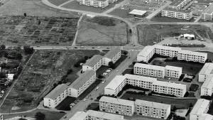 Flygfoto över norra Hageby 1967.