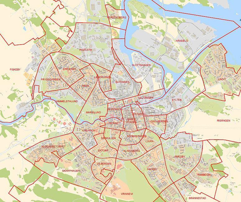 Stadsdelar, tätorter och landsbygdsområden