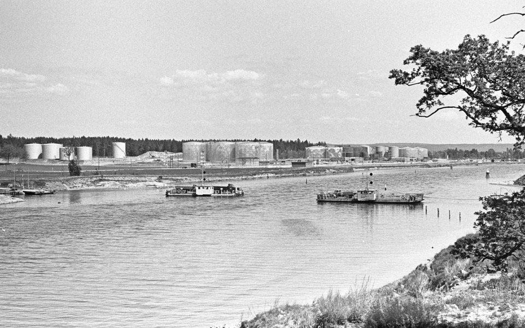 Färjetrafiken till och från Händelö 1963. Foto: Seved Walther. Ur Järnvägsmuseets samlingar