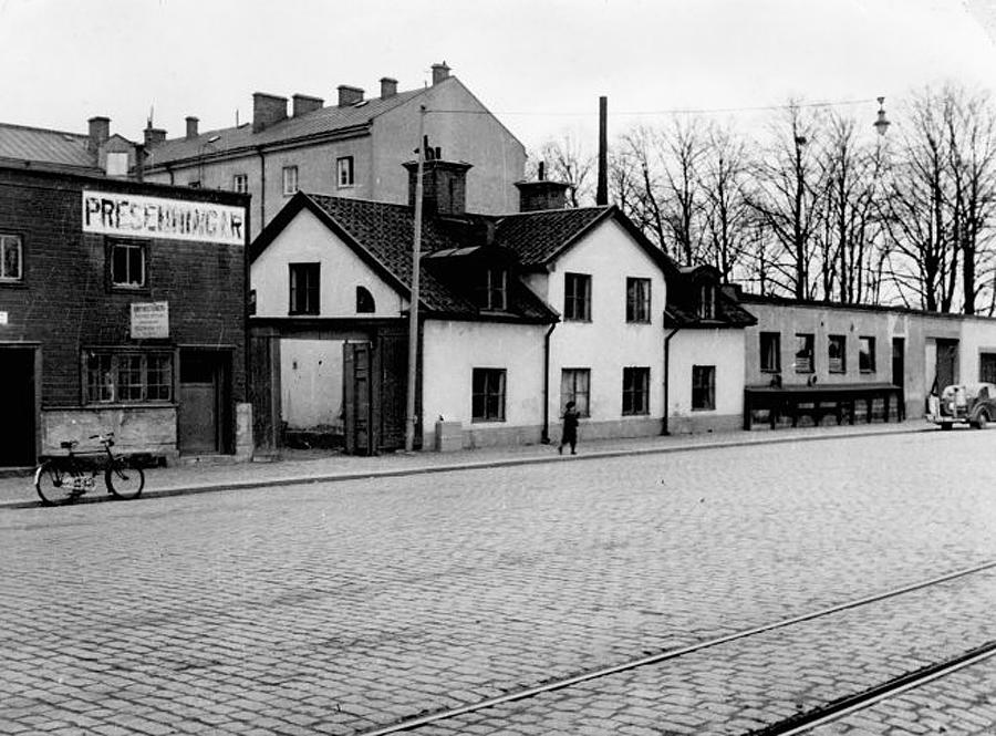 Helmers plåtslageri på Packhusgatan (1950).