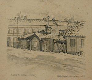 """Jungfrugatan Saltängen Norrköping"", litografi av Sture Nilsson, 1963."
