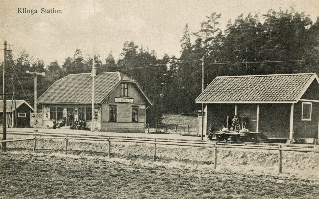 Klinga station. Vykort i Järnvägsmuseets samlingar