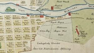 Utsnitt ur 1719 års karta.