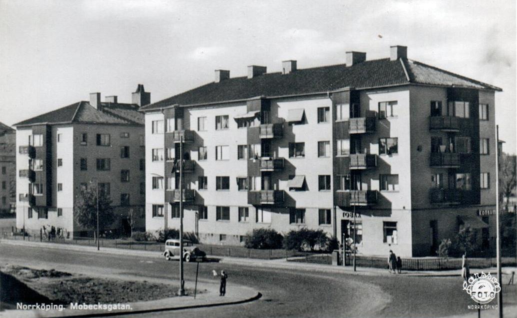 Mobecksgatan och kvarteret Statsrådet. Vykort, okänt år