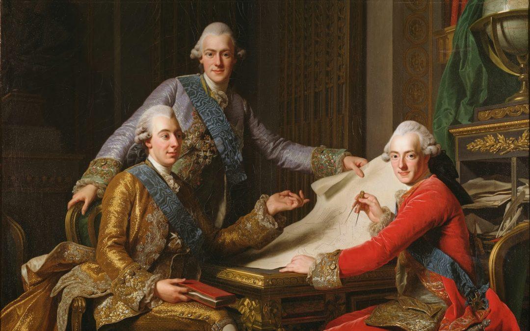 Kung Gustav III med bröderna prins Fredrik Adolf och prins Karl . Målning av Alexander Roslin (1771).