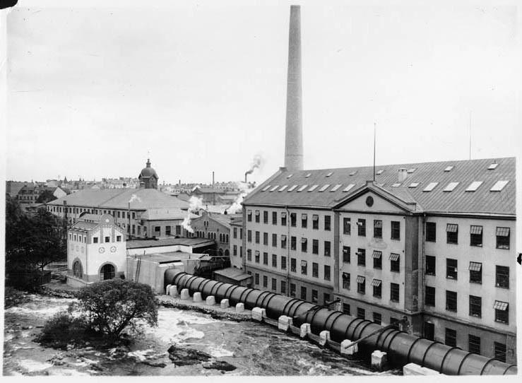 Bomullsspinneriet på Kvarnholmen 1915. Foto: Gustaf Lidberg. Ur Norrköpings stadsarkivs samlingar