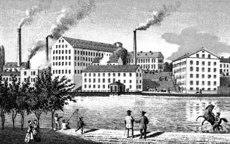 Drags fabriker i nuvarande kvarteret Drag omkring 1870-1879. Ur Holmens bruks arkiv, Norrköpings stadsarkiv