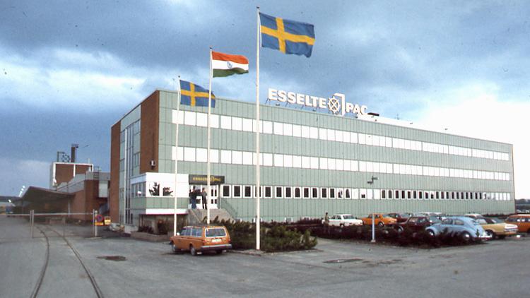 Esselte-Pac på Malmgatan i kvarteret Plinten. Okänd fotograf. Ur Norrköpings stadsarkivs samlingar