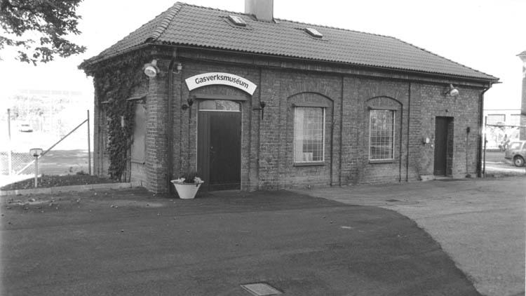 Gasverksmuseet på Saltängsgatan 48 i det dåvarande kvarteret Skeppsdockan, nu kvarteret Hamnkontoret. Okänd fotograf. Ur Norrköpings stadsarkivs samlingar