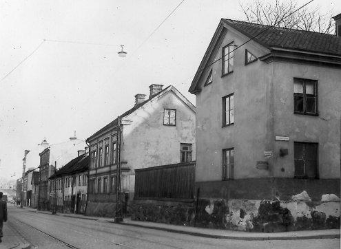 Kvarteret Danzig vid Trädgårdsgatan. Okänd fotograf. Ur Norrköpings stadsarkivs samlingar