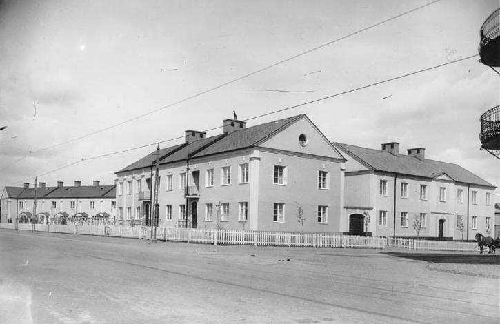 Telegrafstyrelsens arbetarbostäder i kvarteret Klinten 1924. Foto: Gustaf Lidberg. Ur Norrköpings stadsarkivs samlingar