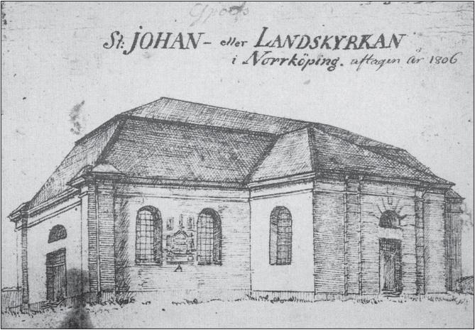 S:t Johannes kyrka. Teckning av Johan Fredrik Kock 1806.