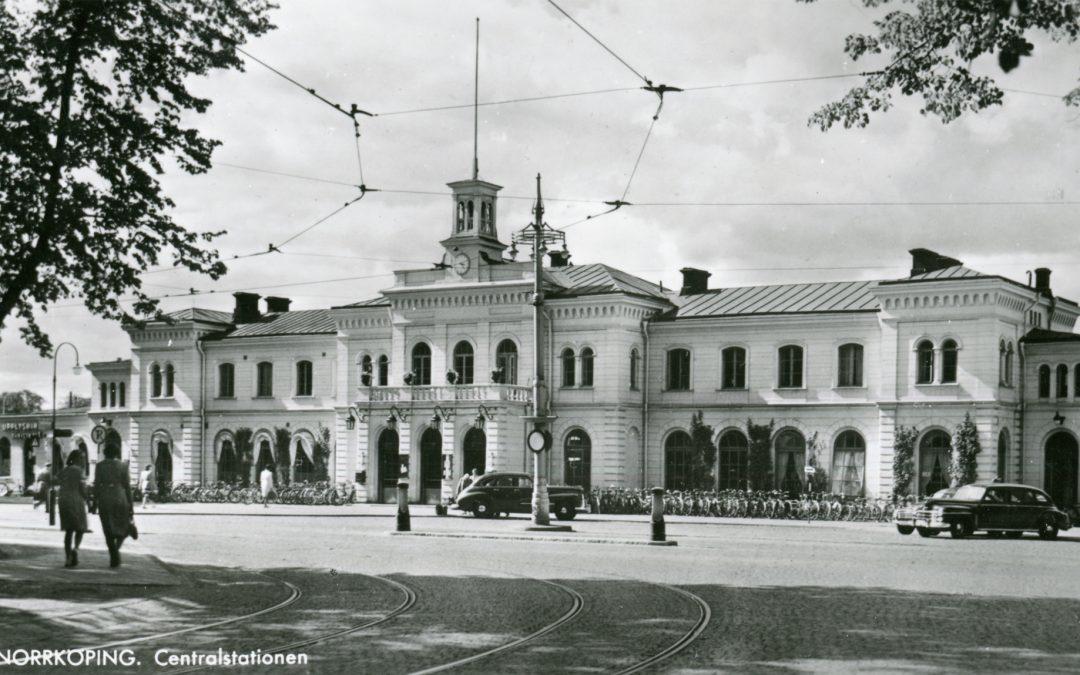 Norrköpings Centralstation. Vykort ur Norrköpings stadsarkivs samlingar