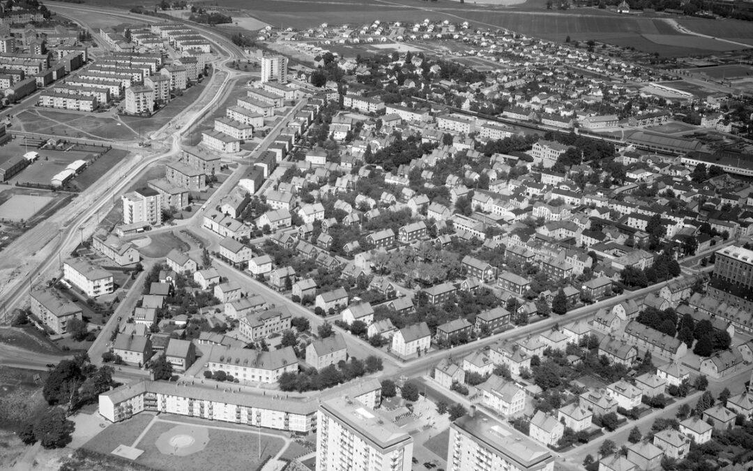 Flygfoto över Marielund år 1959. Foto: AB Flygtrafik. Ur Östergötlands museums samlingar
