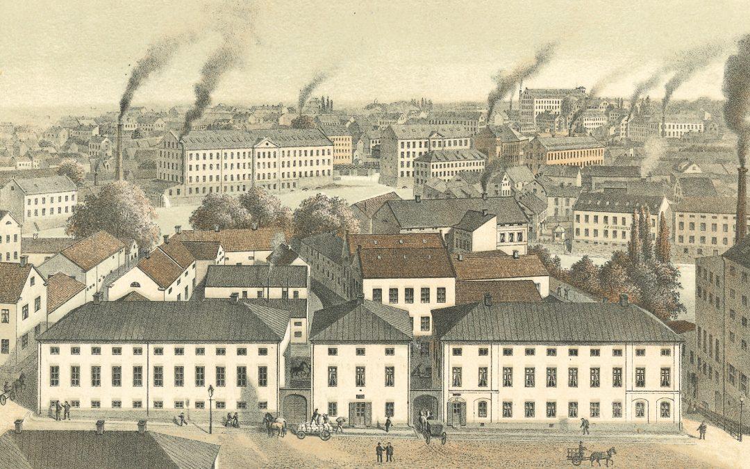 "Swartz's Snusfabrik, Norrköping. Litografi ur boken ""Sveriges industriella etablissementer"", Stockholm 1870–1872."