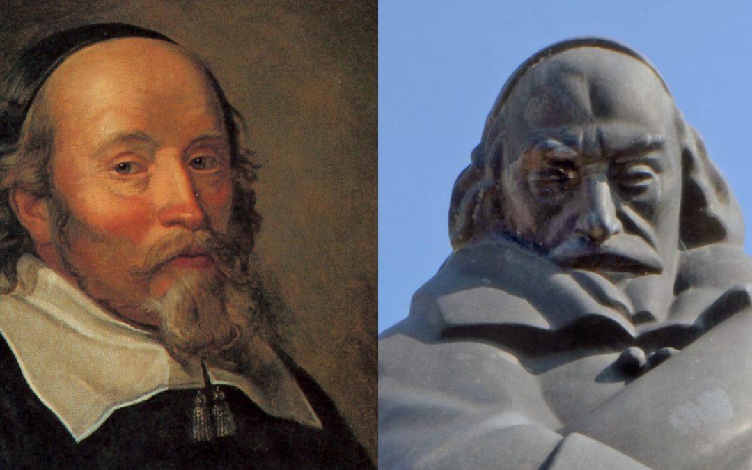 Louis De Geer på målning av David Beck ca 1650 och som staty av Carl Milles 1945.