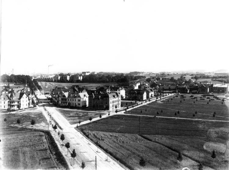 Panorama från Hultettornet mot öster. Okänd fotograf. Ur Norrköpings stadsarkivs samlingar