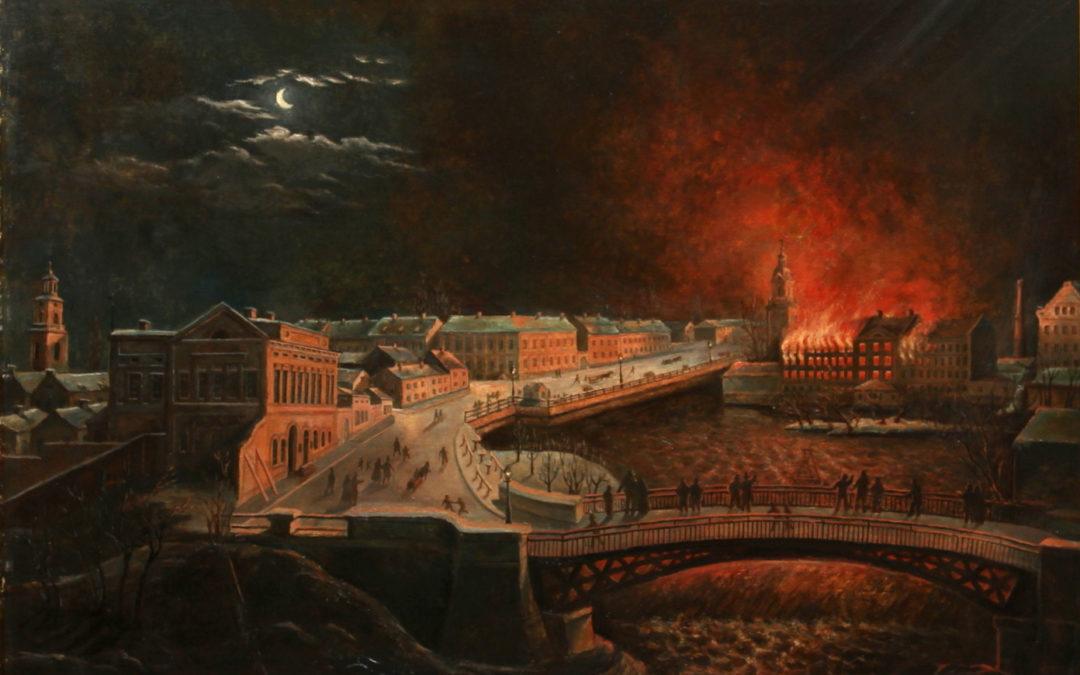 """""""Holmen brinner"""", målning signerad I.D Lilja 1862 (kopia)."""