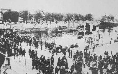 Jubel i staden vid kung Oskars besök året 1893