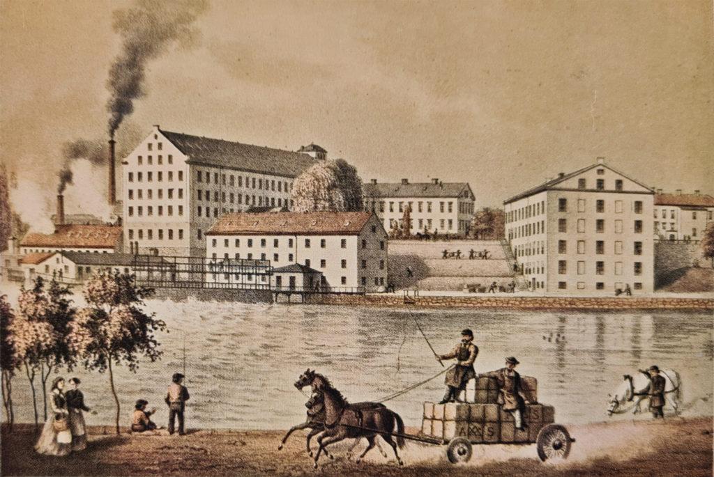 """Drags i början av 1870-talet. Ur planschverket """"Sveriges industriella etablissementer"""", 1872."""