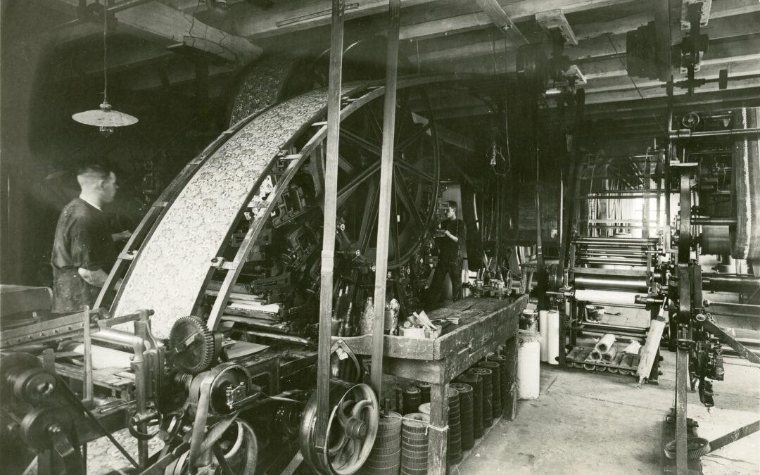 Norrköpings Tapetfabrik år 1917. Foto: Foto: Gustaf Lidberg ur Norrköpings stadsarkivs samlingar