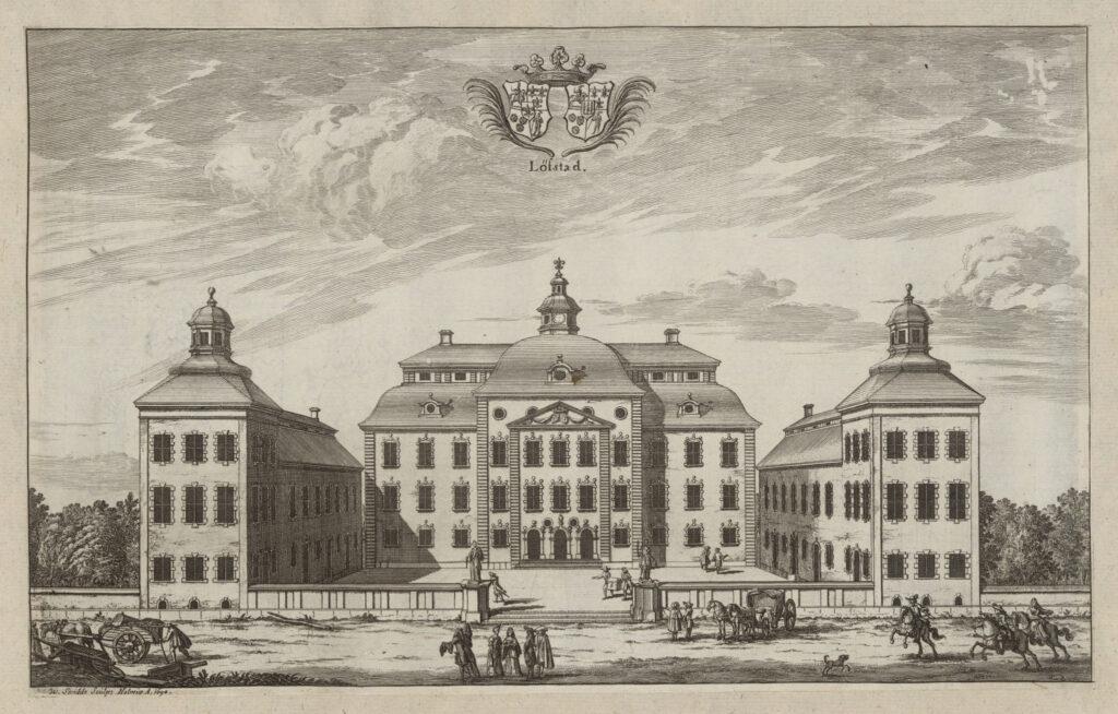 """Löfstad slott i planschverket """"Suecia antiqua et hodierna"""", graverad av Willem Swidde 1694"""